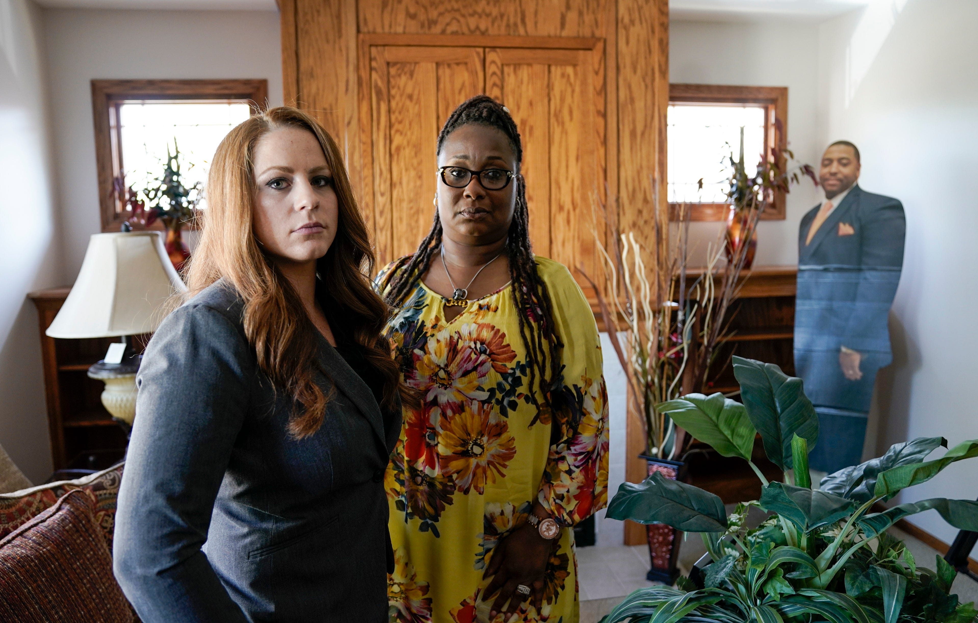 Attorney Abby Bakos, left, is representing Nicole Lurry, right, in her civil suit against the Joliet Police Department. Bakos says she was not allowed to view the squad camera video of Eric Lurry's death when officials showed it to a group of pastors and other Black community leaders.