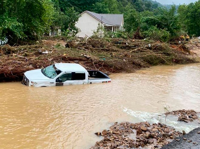 This photo provided by Bristol Virginia Professional Fire Fighters Association shows damage from severe weather on Monday, Aug. 30 in Hurley, Virginia. Hurley is on the western side of the state, which took the damage of the hurricane in full, while the eastern side evaded any major impacts.