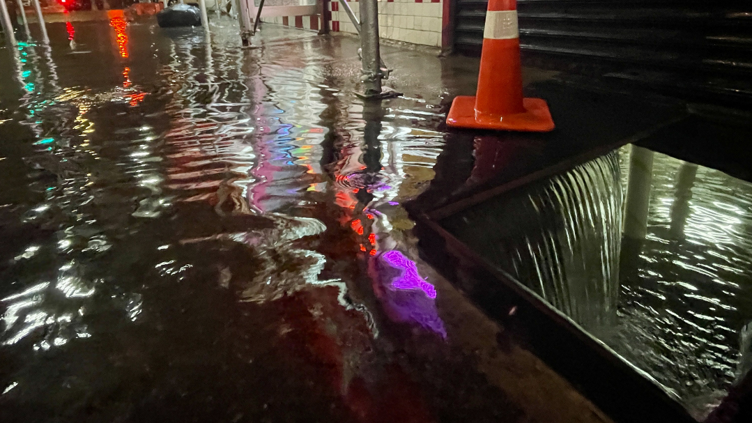 Rainfall from Hurricane Ida floods the basement of a Kennedy Fried Chicken restaurant on Wednesday, September 1, 2021, in the Bronx borough of New York City. The once category 4 hurricane passed through New York City, dumping 3.15 inches of rain in the span of an hour at Central Park.