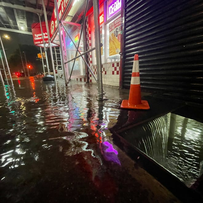 Rainfall from Hurricane Ida floods the basement of a Kennedy Fried Chicken restaurant on Wednesday, Sept. 1, 2021, in the Bronx borough of New York City. The once Category 4 hurricane passed through New York City, dumping 3.15 inches of rain in the span of an hour at Central Park.