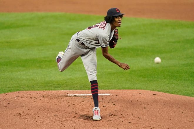 Cleveland starter Triston McKenzie, shown during his last start in Kansas City on Thursday, became just the third pitcher in MLB history to pitch at least six innings with two hits or fewer and one walk or fewer in three consecutive starts . [Charlie Riedel/Associated Press]