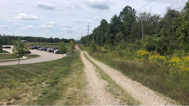 This is a distant view of the area in which a plane crashed Friday after taking off from the Wadsworth Municipal Airport.