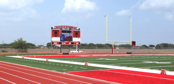 Robstown ISD celebrates the new artificial turf with a ribbon cutting ceremony on Friday, Sept. 3.
