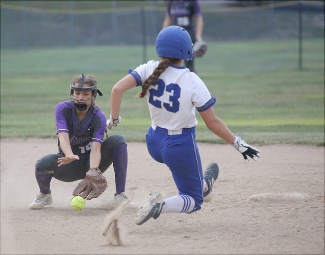 Boonville freshman Cora Thompson (23) beats the throw to second in the fifth inning Thursday night against Hallsville in Tri-County Conference action at Bill Simmons field at Rolling Hills park.