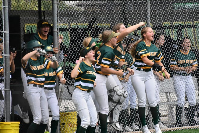 Rock Bridge, cheering after a home run against Logan-Rogersville, does not have a senior on its team this season as it looks to return to its spot at the top of Missouri high school softball.