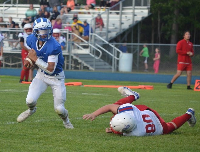 Inland Lakes senior quarterback Mason Blumke, left, has been named the Cheboygan Daily Tribune's Athlete of the Week for Saturday, Aug. 21-Saturday, Aug. 28. The IL signal-caller won 37.8 percent of the vote, capturing 227 total online votes.