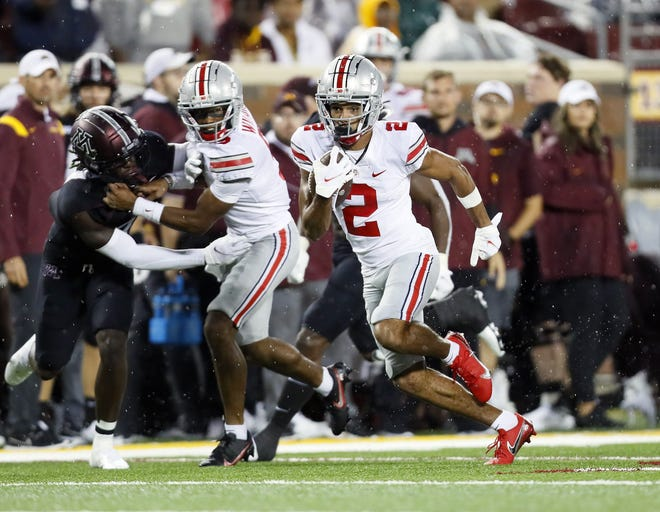 If Ohio State plans to stick with what works, Buckeyes receiver Chris Olave caught four passes for 117 yards and two touchdowns in a win against Minnesota.