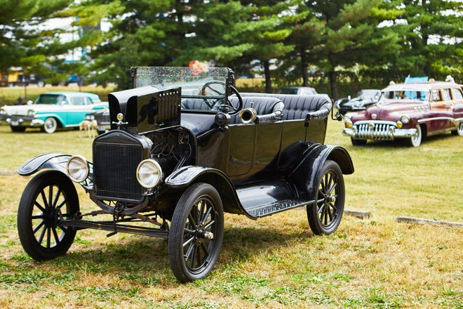 Cars on display at the 2019 car show at Green Lawn Abbey.
