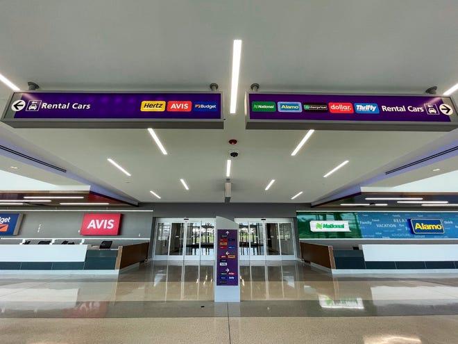 The inside of the John Glenn Columbus International Airport's new rental car center.