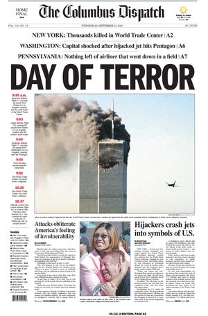Front page of September 12, 2001, Columbus Dispatch with coverage of the 9/11 terror attacks.