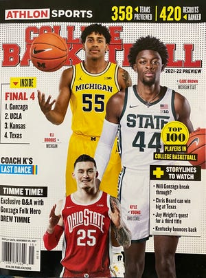 Ohio State's Kyle Young appears on the cover of the 2021-22 Athlon Sports men's college basketball preseason magazine.
