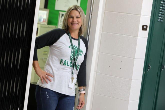Sara Watkins an Instructional Coach at West Burlington Junior Senior High School Friday Sept. 3, 2021, in her office.