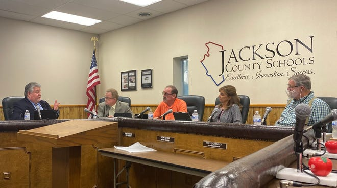 Steve Chancey was the only board member to wear a face covering at Thursday's meeting.