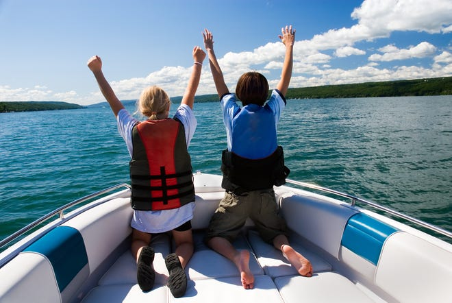 Adults and children are encouraged to use a life jacket while out in the water.