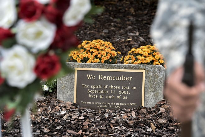 The Sept. 11th memorial site on WVU's downtown campus serves as a gathering point for those paying tribute to victims of the 2001 terrorist attacks.