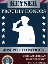 Piedmont's Hometown Heroes banners will be similar to this sample of those currently hanging in Keyser.