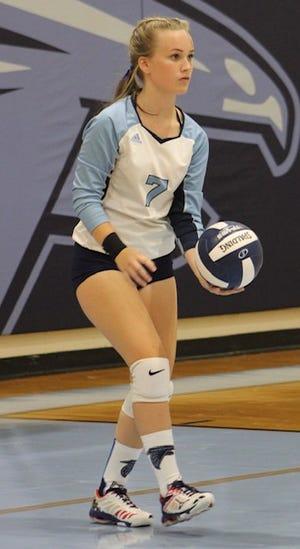 Frankfort's Madison Middleton prepares to serve the ball against Berkeley Springs.