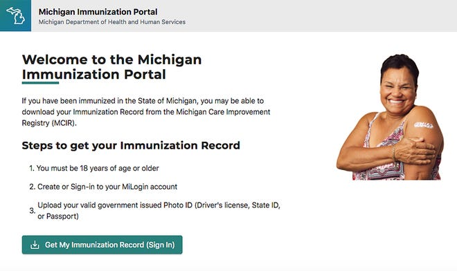 A look at the home page of the Michigan Immunization Portal, recently unveiled by the Michigan Department of Health and Human Services.