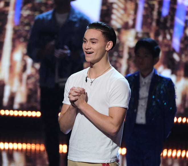 America's Got Talent contestant Aerialist Aidan Bryant the moment he learned he was going through to the Finals.