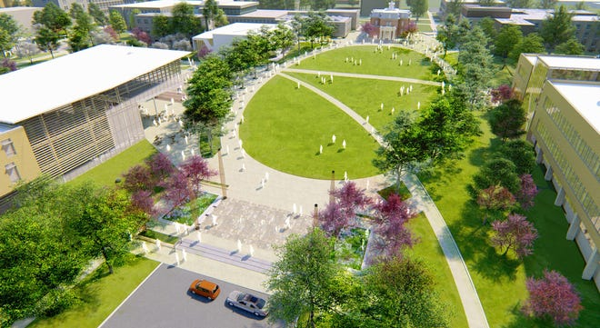 An architect's rendering of an aerial view of the Arrival District.