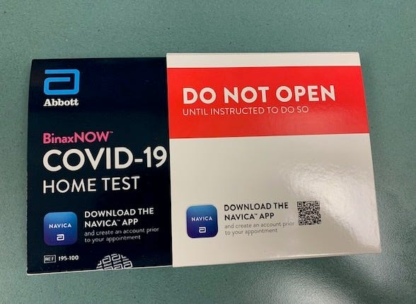 """This is the COVID0-19 home test Aurora City Schools students and families can acquire through the district. Results are ready in """"minutes,"""" according to Aurora City Schools Superintendent Michael Roberto."""