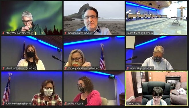 Second grade student Skyla Chavez, bottom right, speaks with the Eugene School Board about ways to protect against COVID-19.