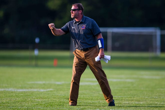 Edwardsburg football Kevin Bartz, shown Sept. 2, 2021, is approaching milestone victory No. 200