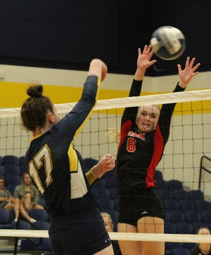 Stephenville's Emma Giddings slams the ball over the net during the Bees' Tuesday match against Lorena.