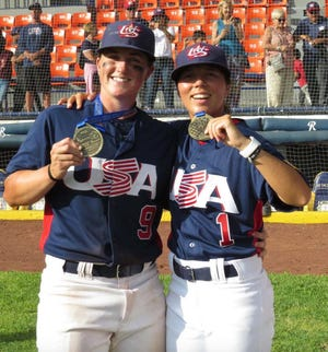 Anna Kimbrell, left, and Marti Sementelli, two gold-medal winning players for the Team USA women's national baseball team at the 2015 Pan American Games, will play in the All-American Women's Baseball Classic in January at Sarasota's Ed Smith Stadium.