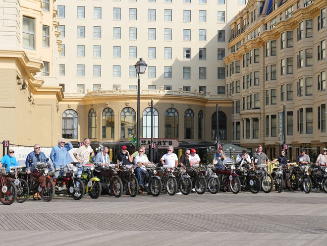 Motorcycle Cannonball riders line up along the Atlantic City boardwalk in preparation for the first stage, departing from Atlantic City, New Jersey, on Sept, 10, 2016.