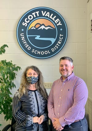 Matt Chester, right, is the new Director of School Operations at Etna and Scott River high schools. To his left is Scott Valley Unified School District Superintendent Micheline Miglis.