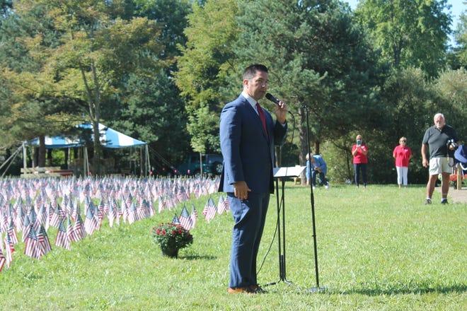 Army veteran Sean Parnell speaks Friday during the dedication of Patriot Park.