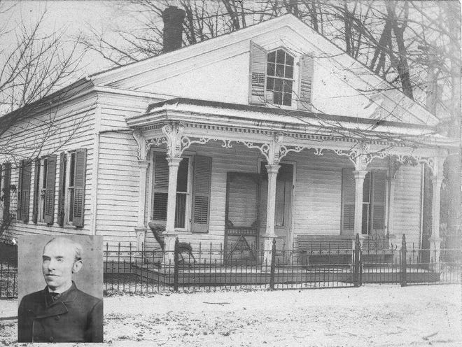 In 1904, Martha Johnson's boarding house was a place where townspeople and teachers could eat. Inset undated: Capt. John D. Alexander was a lawyer in practice with Moses F. Dunn. He was lame in his right hip from an 1864 wound received at the Civil War Battle of Kennesaw Mountain. He was the last person to see Miss Schafer before her murder later that evening.