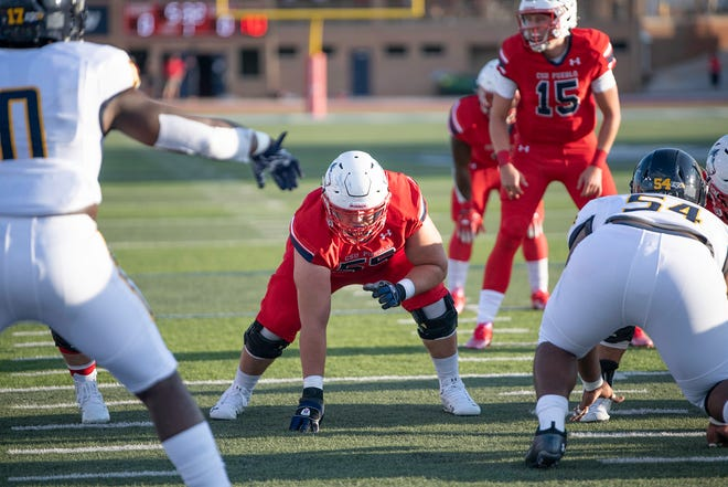 Colorado State University Pueblo's James Parker lines up on offense during the season opener against Texas A&M-Commerce on Thursday September 2, 2021 at the ThunderBowl.