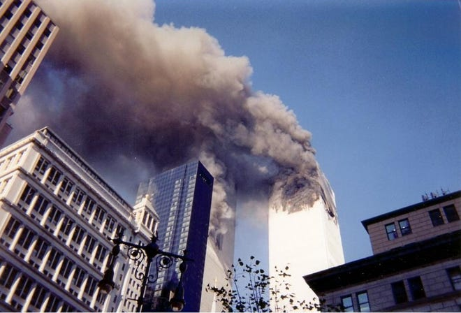 Evangeline Dukas King took this photo with a disposable camera during the terrorist attacks at the World Trace Center on Sept. 11, 2001.