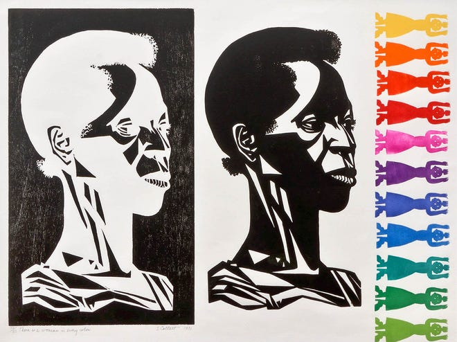 """THERE IS A WOMAN IN EVERY COLOR, by Elizabeth Catlett 1975 Mixed media, ed. 32/33  21"""" x 27"""""""