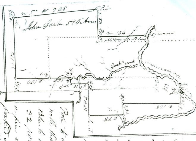 A resurvey of John Gash's property, dated Oct. 30, 1841, includes a drawing that prominently features Gash's Creek.