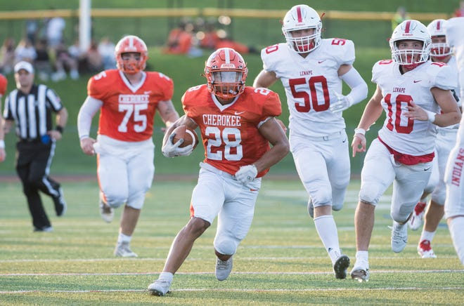"""Cherokee's Brandon """"Bam"""" Boria runs the ball in for a touchdown during the 2nd quarter of the football game between Cherokee and Lenape played at Cherokee High School in Marlton on Thursday, September 2, 2021.  Cherokee defeated Lenape, 35-0."""