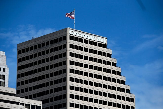 The Cincinnati Bell headquarters in downtown Cincinnati on Friday, Sept. 3, 2021. Cincinnati Bell recently agreed to be acquired by Macquarie Infrastructure Partners for $2.9 billion.