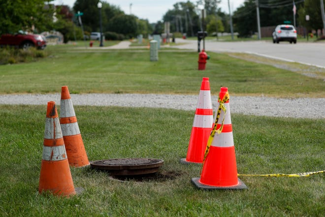 Opened manhole along Olmstead Road in Flat Rock on Sept. 3, 2021.