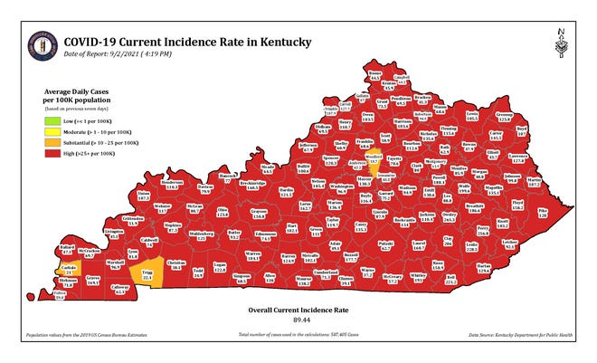 The COVID-19 current incidence rate map for Kentucky as of Thursday, Sept. 2.