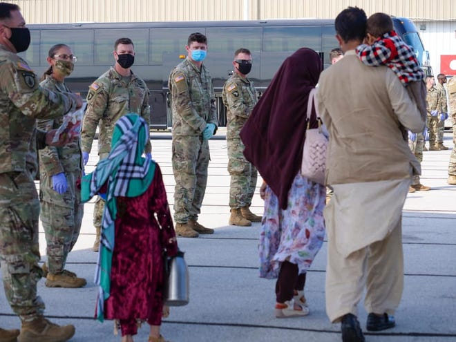 The first group of Afghan evacuees arrived in Indiana Thursday, Sept. 2, 2021.