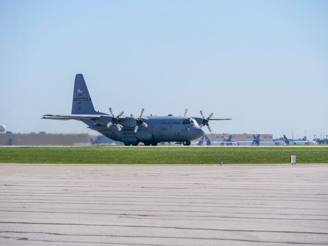 An Ohio National Guard C-130 carrying Afghan evacuees arrives in Indianapolis Thursday, Sept. 2, 2021.