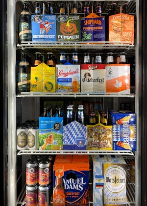 Main Street Liquor in Mukwonago has a display window of 16 kinds of beer for the Oktoberfest season.  They are one of the liquor stores in the Milwaukee suburbs  to have Oktoberfest beer.
