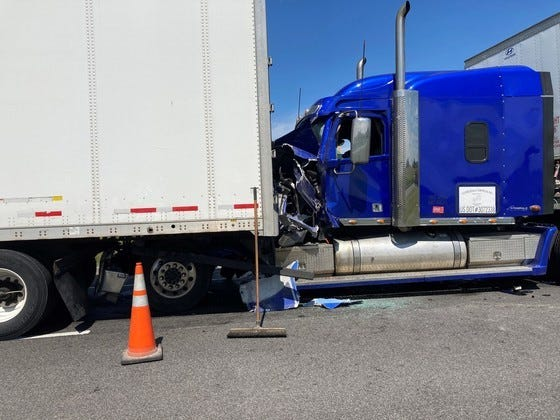 An Illinois man was killed Friday when three semi tractor-trailers collided in the westbound lanes of Interstate 70 in Henry County.