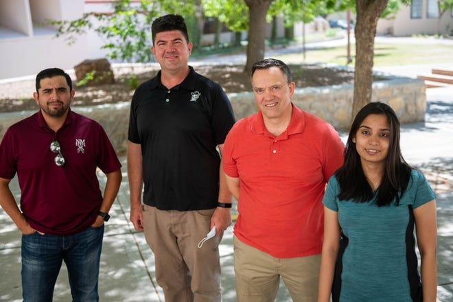 (Left to right) Assistant Professor Victor Pimentel, Associate Professor Barry Brewer, Assistant Professor Donovan Fuqua and Ph.D. NMSU Student Shravya Dharba.