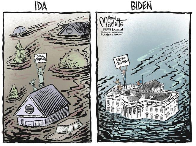 Marlette cartoon: Biden in a disaster zone