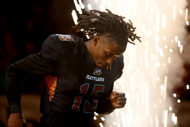 June 25, 2021; Phoenix, Arizona, USA; Rattlers' Dillion Winfrey (15) comes out of the tunnel before a game against the Spokane Shock at Phoenix Suns Arena. Patrick Breen-Arizona Republic