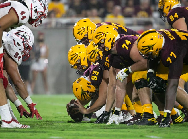 ASU long snapper Erik Dickerson snaps for an extra point during the second quarter of the college football game against Southern Utah at Sun Devil Stadium in Tempe on September 2, 2021.