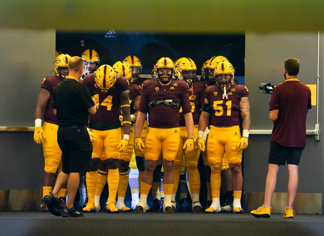 ASU players get ready to take the field before the game against Southern Utah for the college football game at Sun Devil Stadium in Tempe on September 2, 2021.